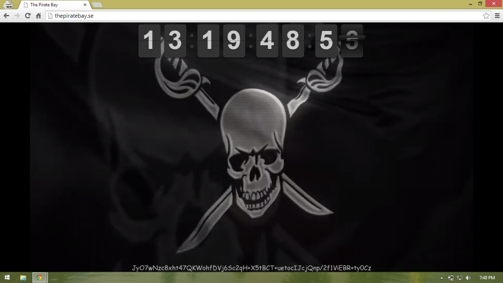 The pirate bay waving flag