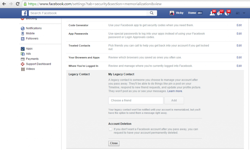 Facebook legacy contact Feature
