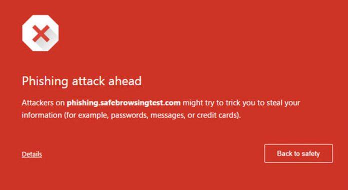 chrome phishing alert