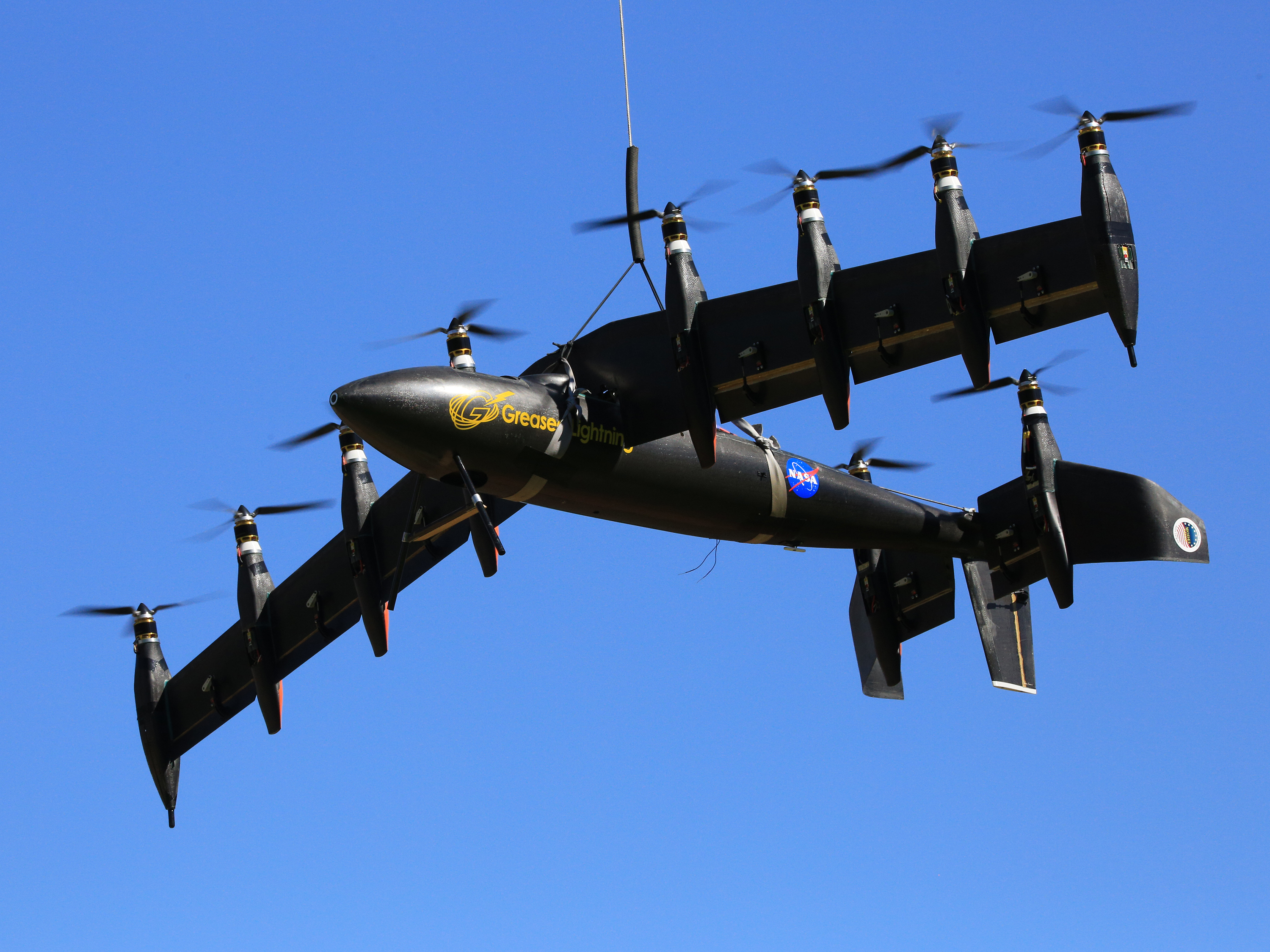 Greased Lighning (GL10) project 10 engine electric prototype remote control plane. Photo taken 8/14/14 by David C. Bowman