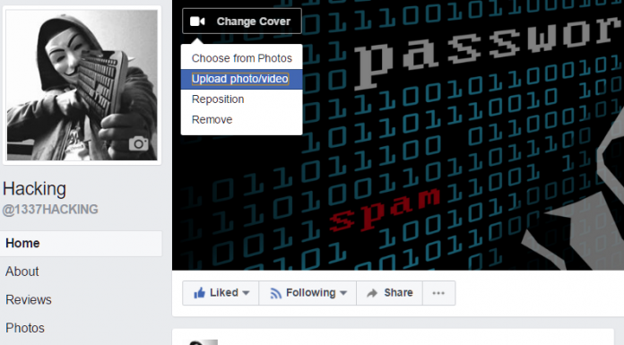 Facebook video cover page