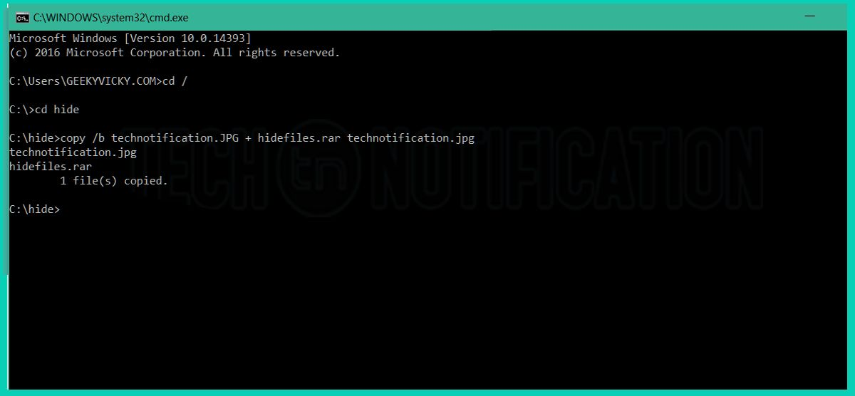 CMD command to hide- Hide Files inside Image-compressed