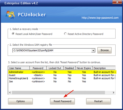 Windows password reset By recovery tool