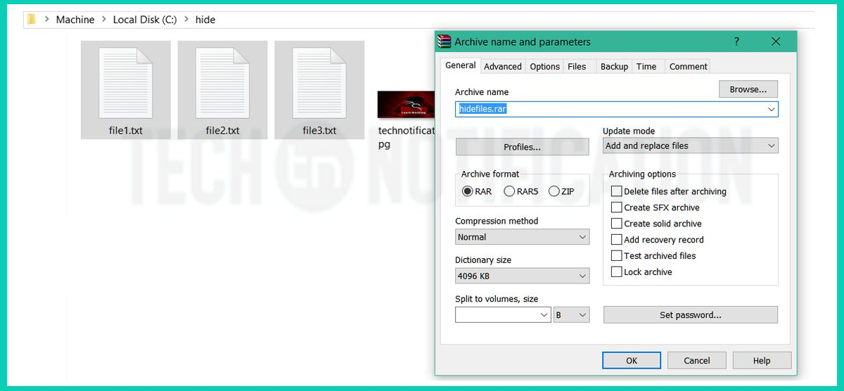 create rar file - Hide Files inside Image-compressed