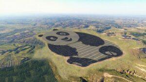 china panda shaped solar farm
