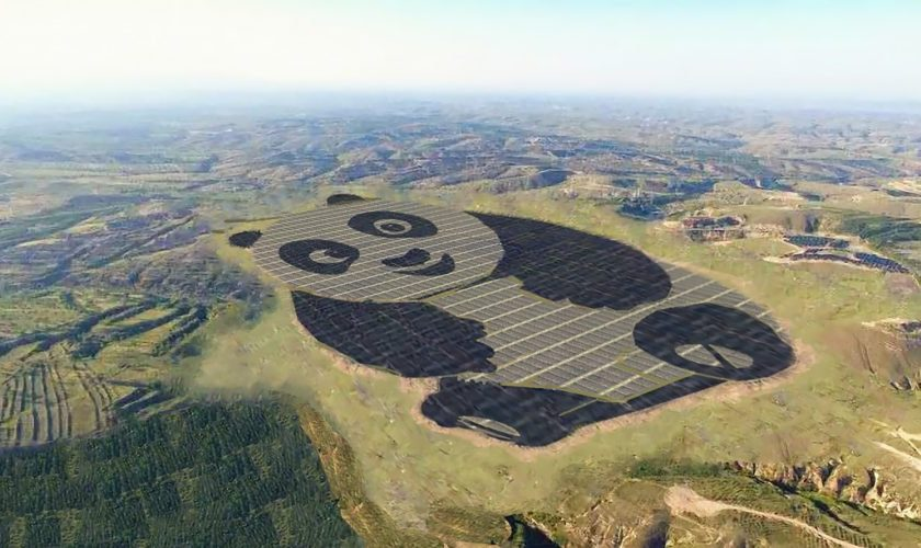 china panda shaped solar farm
