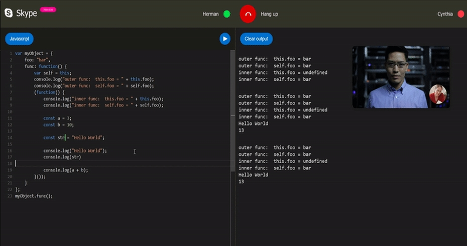 Skype code editor for coding interviews