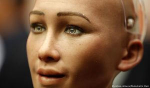 Sophia, a life-like humanoid robot, is pictured at the UN headquarters in New York, Oct. 11, 2017 (picture-alliance/Photoshot/L. Muzi)