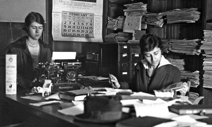 University office in 1919 black and white pic