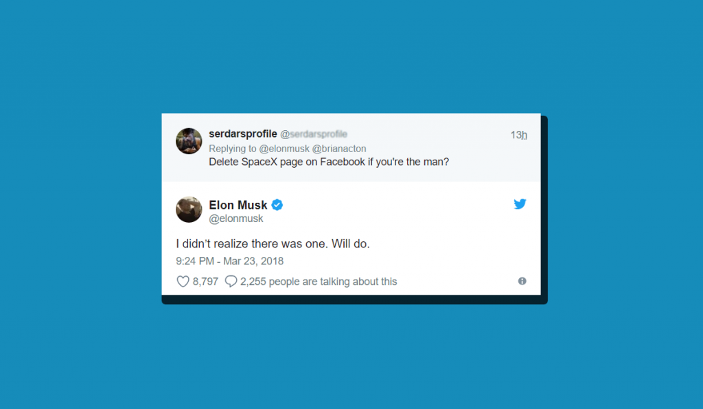 Elon musk removed Facebook page of tesla and spaceX
