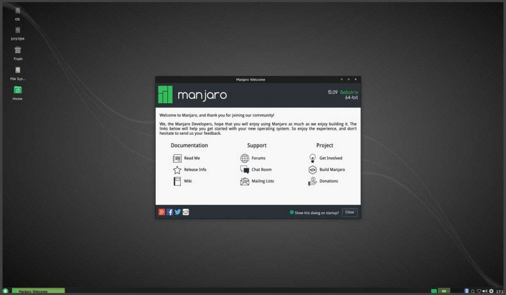 manjaroos -best linux distributions for beginners