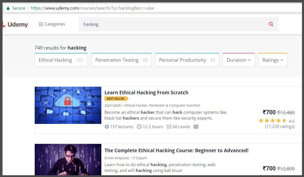 Udemy - Best Website to learn ethical hacking
