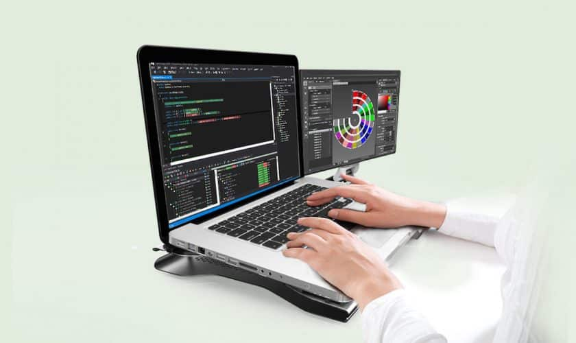 duo laptop monitor productive programmer