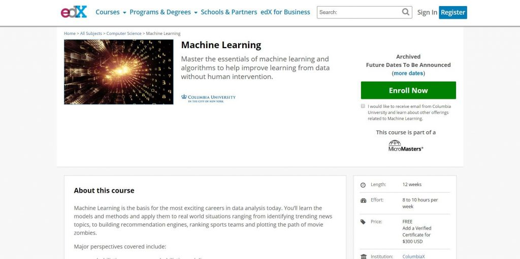 Machine learning course on EDX