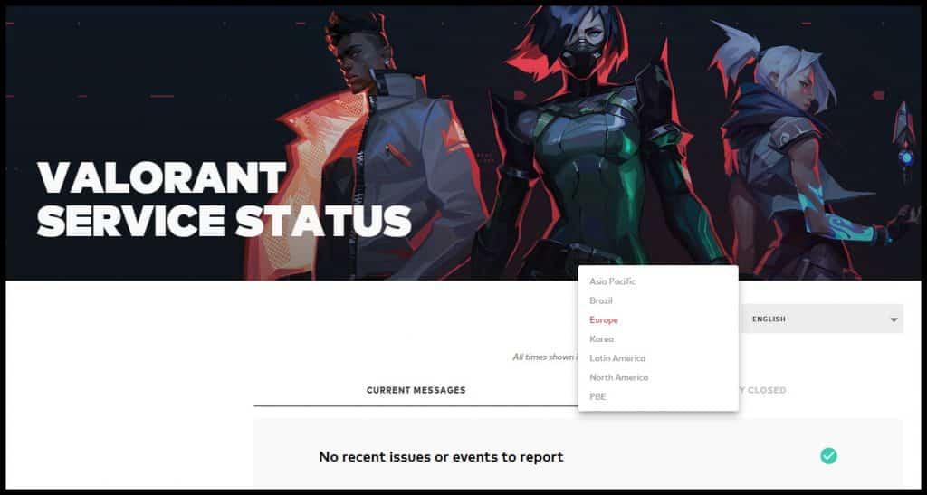 Valorant server status page